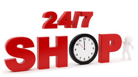 Shop. Render of 24/7 shop sign,  on white Stock Photos