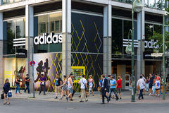 Shop for ADIDAS Kurfuerstendamm. BERLIN - JULY 24: Shop for ADIDAS Kurfuerstendamm. Adidas AG is a German multinational corporation that designs and manufactures Royalty Free Stock Photos