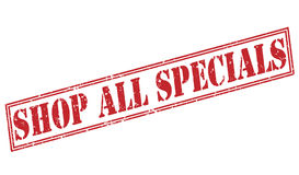 Shop all specials red stamp. On white background Royalty Free Stock Photo