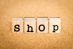 Shop - Alphabet Stamp Concepts. Concept of Alphabet Stamp with letters forming word : Shop Stock Photography