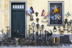 Shop for art objects in wrought iron. Color image Royalty Free Stock Images