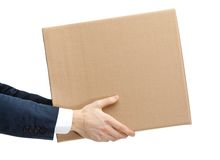 Shop assistant gives the parcel. Isolated, white background stock image