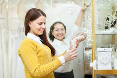 Woman  chooses bridal accessories Stock Photo