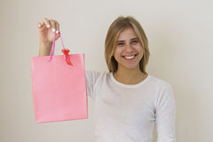 Shop Assistant With Pink Bag Stock Images
