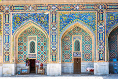 Shop in the atrium of Samarkand Registan, Uzbekistan. Small souvenir shop in the colorful atrium in Samarkand Registan, Uzbekistan Stock Images
