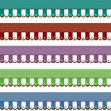 Shop Awnings Graphic Various Colors. Shop awnings in red, purple, green, teal, and blue. Illustrated, clean style graphic Royalty Free Stock Photos