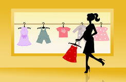 Shop for baby clothes Stock Image