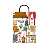Shop bag combined of many furniture set items. Shopping and consumering concept. Shop bag combined of many furniture set items. Shopping concept royalty free stock image