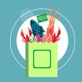 Shop Bag With Fresh Sea Food Craw Fish, Crayfish, Shrimp Royalty Free Stock Photo
