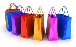 Shop bag row Stock Image