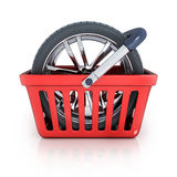 Shop bag and wheel Royalty Free Stock Photography
