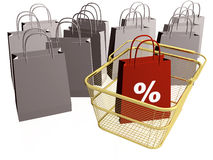 Shop bags and basket Stock Photography