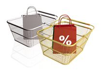 Shop bags and baskets Stock Image