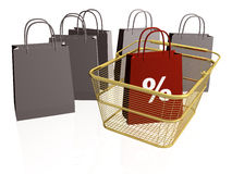 Shop bags and baskets. On white background Royalty Free Stock Photography