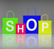 Shop Bags Show Retail Shopping and Buying Stock Photos