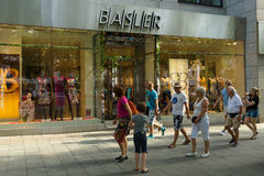 Shop at Basler Kurfuerstendamm. BERLIN - AUGUST 03: Shop at Basler Kurfuerstendamm. Basler is a German manufacturer and marketer of women's clothing with annual Royalty Free Stock Photo