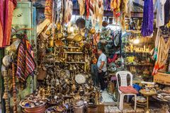 A shop in the Bazaar in Old City of Jerusalem royalty free stock images