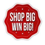 Shop big win big sticker or label Stock Images