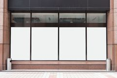 Shop Boutique Store Front with Big Window and Place for Name. Mock up of big store showcases windows in the street stock photos