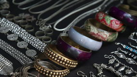 Shop with bracelets in India stock video footage