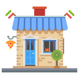 Shop building. Cafe, food delivery and pizza Royalty Free Stock Photos