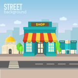 Shop building in city space with road on flat syle Stock Photos