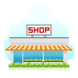 Shop Building with Green Grass Stock Photo