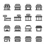 Shop building icon set, vector eps10 Royalty Free Stock Images