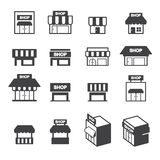 Shop building icon set Royalty Free Stock Photos