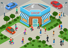 Shop building local store street sale flat 3d web isometric infographic concept stock illustration