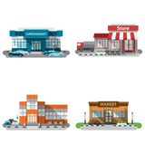 Shop Buildings Icons Set Royalty Free Stock Image