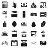 Shop with buns icons set, simple style Stock Images