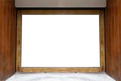 Shop-Butiken-Speicher-Front mit großem Fenster und Platz für Namen Lizenzfreie Stockfotos