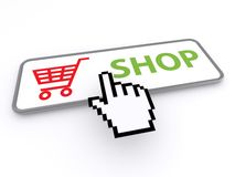 Shop button with cart Royalty Free Stock Image