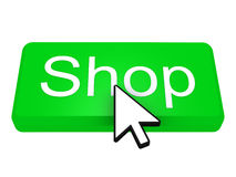 Shop button with cursor Royalty Free Stock Photo