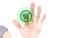 Shop button on white touchscreen Royalty Free Stock Images
