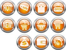 Shop buttons. Collection of buttons for internet shop Stock Image