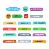 Shop buttons vector set. Stock Photos