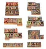 Shop, buy, deal words in letterpress type. Shopping related word and phrases (sale, buy, best price, bestseller, deal, auction) in vintage wooden letterpress stock image