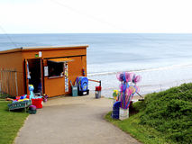 Shop & cafe, Cayton Bay, Scarborough. A wooden cafe and shop above Cayton bay beach, North Yorkshire,England, UK Royalty Free Stock Photo