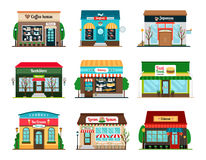 Shop and cafe colorful icons Royalty Free Stock Photos