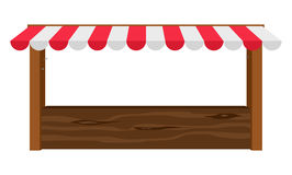 Shop canopy. Empty wooden counter with canopy Stock Photo