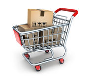 Shop cart and box commodity. 3d illustration Royalty Free Stock Photography