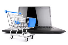 Shop cart with notebook Stock Photos
