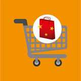 Shop cart red bag gift star design. Vector illustration eps 10 Royalty Free Stock Photos