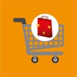 Shop cart red bag gift star design Royalty Free Stock Photos