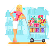 Shop cart shopping woman purchase gift flat design character vector illustration Royalty Free Stock Images