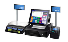 Shop cash register, printer and scales Royalty Free Stock Photography