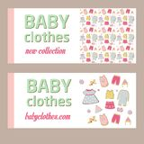 Shop childrens clothing  for boys and girls. Visual communication.Banner for baby clothes. New collection. Advertising clothing store Royalty Free Stock Image