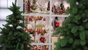 Shop with christmas decoration stock video footage